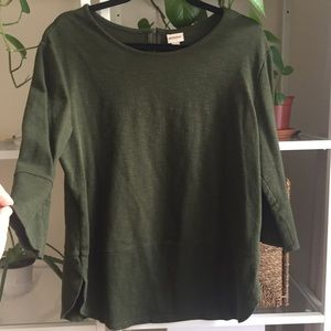 Army green boat neck top by Merona